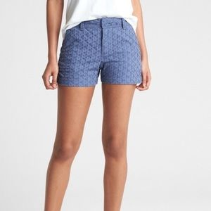 "🆕Gap Blue City Eyelit Lace 3"" Chino Shorts"